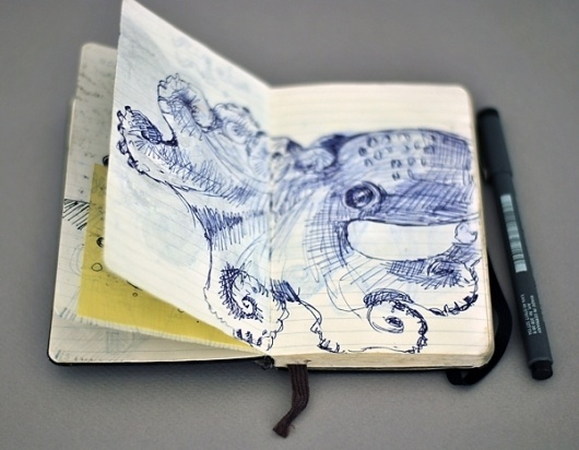Sketches - Moleskine research - graphicwand #graphicwand #note #book #octopus #moleskine #sketches #drawing