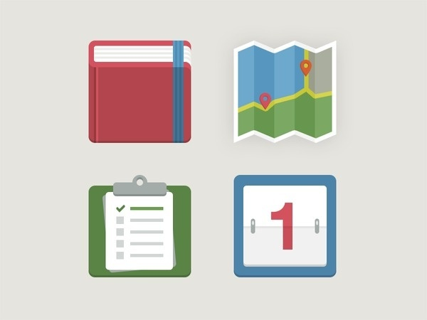 Icons for Flat UI 2 #calendar #icons #book #map #clipboard