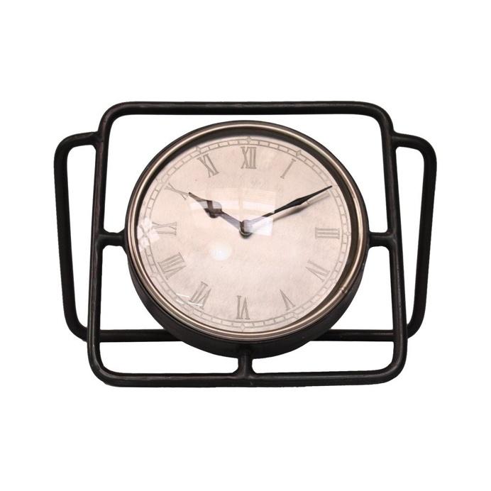 Antique Silver Table Top Clock, 35 cm W x 16 cm D x 22 cm H