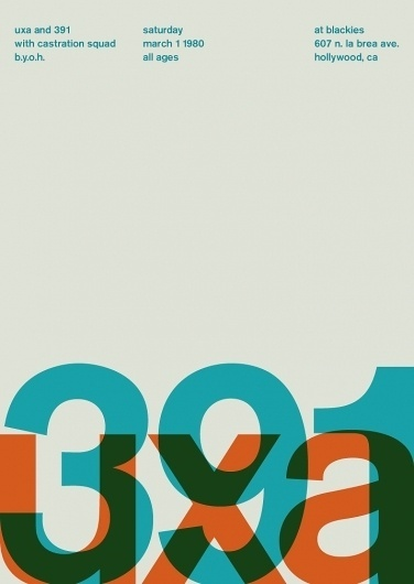 uxa and 391 at blackies, 1980 - swissted #typography #poster #swiss design