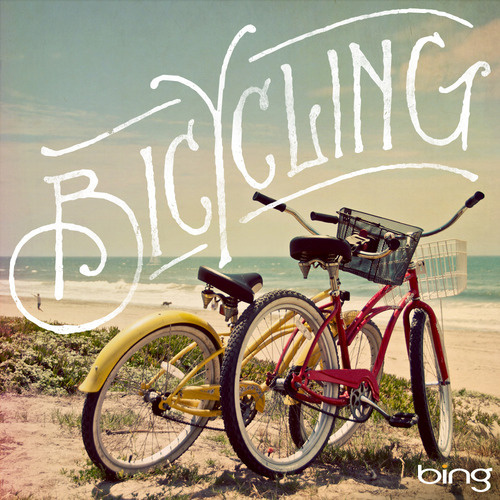 Bicycling for Bing by Jon Contino #bicycle #photography #drawn #hand #typography