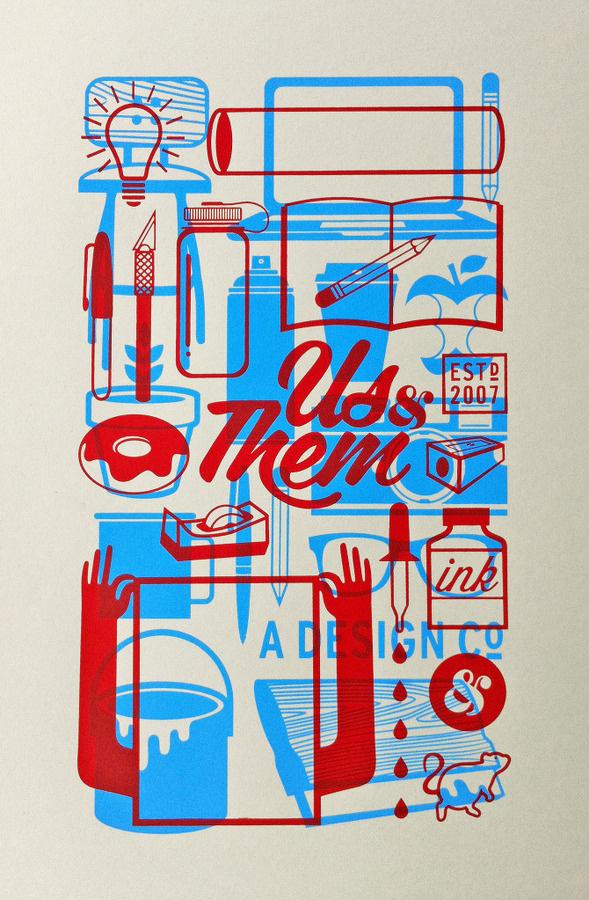 Self Promo Us & Them Studio #them #lettering #script #self #& #illustration #poster #promo #us #typography
