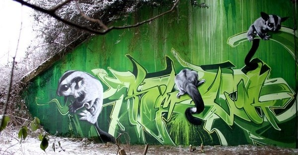 Animals in unique realistic graffiti street art