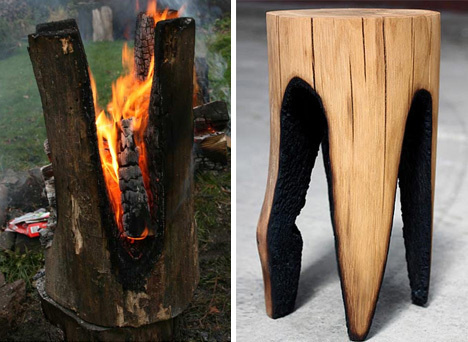 Burnt out wood stool #wood #fire #stool