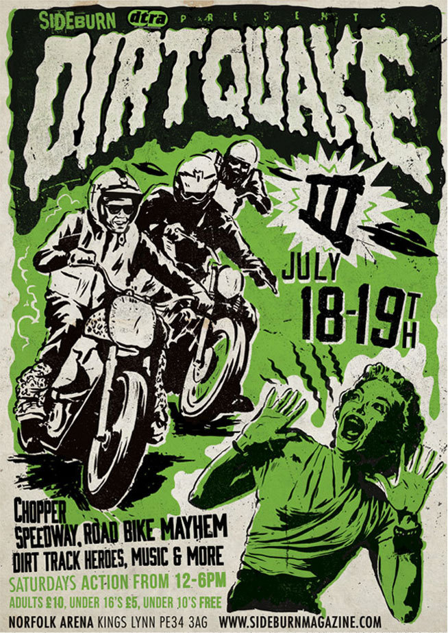 Dirtquake 3 poster for Sideburn magazine #illustration #design #poster #motorcycle
