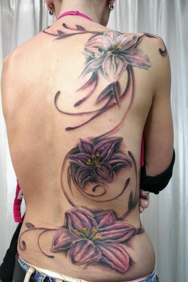 27 backpiece flower tattoo600_900 #tattoo #lily #designs