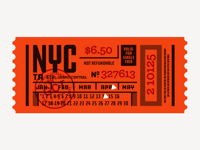 Ticket, type, layout, NYC, Subway