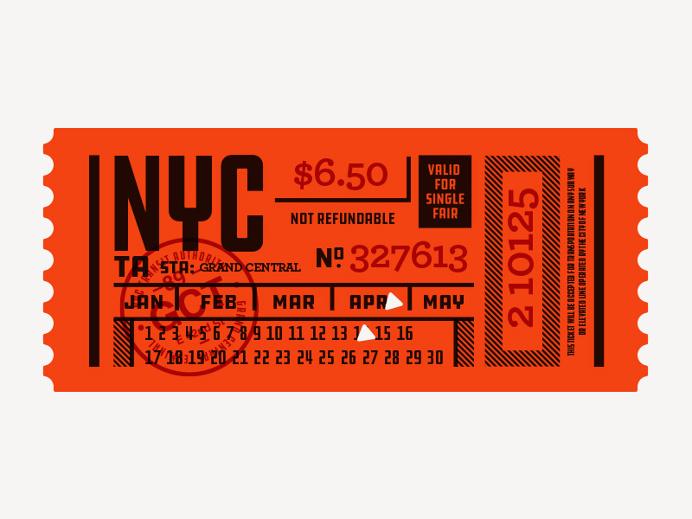 Ticket, type, layout, NYC, Subway