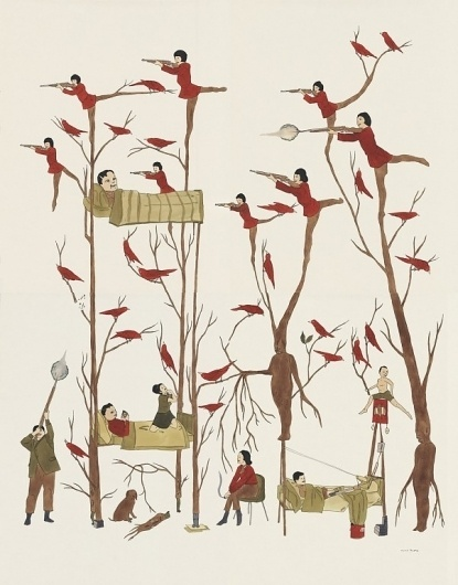 2005 DZAMA1861.200.jpg 602 × 768 Pixel #hunter #dzama #shooting #marcel #birds #drawing #trees