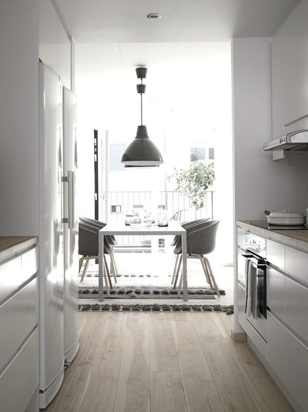 myidealhome:floor love (via emmas) #interior #white #clean #floor #kitchen #minimal #grey