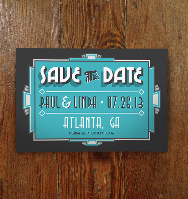 Printable Art Deco Save The Date by PartyTimeInd on Etsy #invitation #art deco #wedding