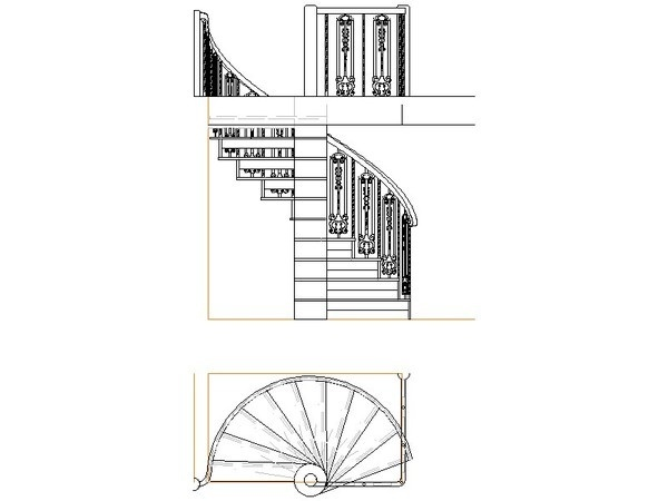 Cad Drawing Of A Spiral Staircase From Several Angles In