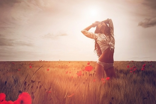 Nature on the Behance Network #sexy #field #woman #photo #flower