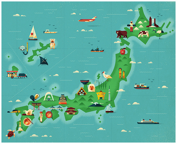 Japan map illustrations for Monocle Magazine #monocle #design #icons #map #illustration #japan #magazine