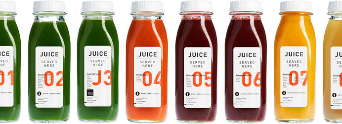 JUICE Served Here — The Dieline #bottle #packaging #glass #system #juice #typography