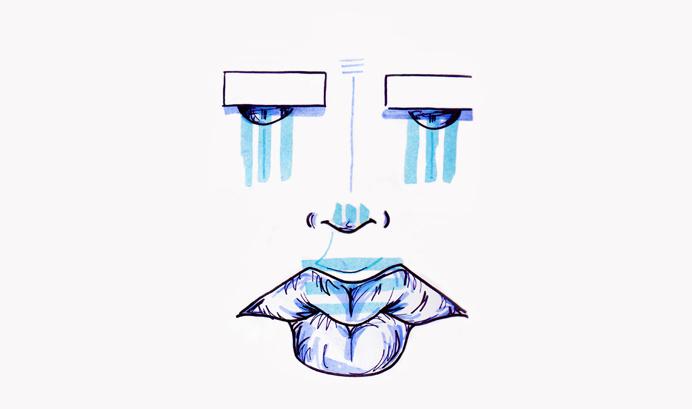 #15 / thug tears / 260314 by Chiamaka Ojechi #illustration #pastel #lips #markers #minimal #tears