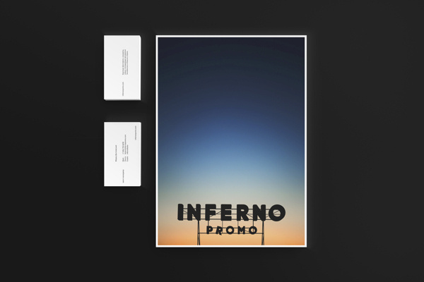 Inferno Identity on Behance #lettering #branding #sky #sign #mockup #stationery #color #card #black #identity #sunrise #gradient #shadow #hotel #logo #personal #typography