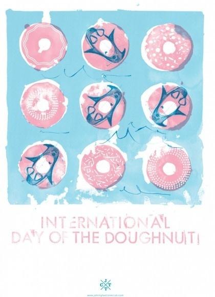 International Doughnut Day - Natasha Muhl of Nathasha Muhl Illustration. #floaties #penguins #screenprinting #johnnytwotoneclub #pink #doughnut #jttc #donut #blue #pastel
