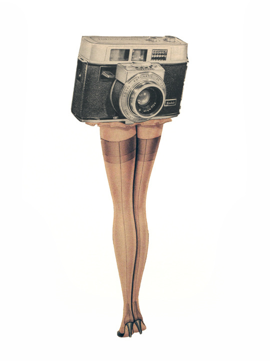 Upskirt, collage, 2010, #art, #collage, #vintage, #camera