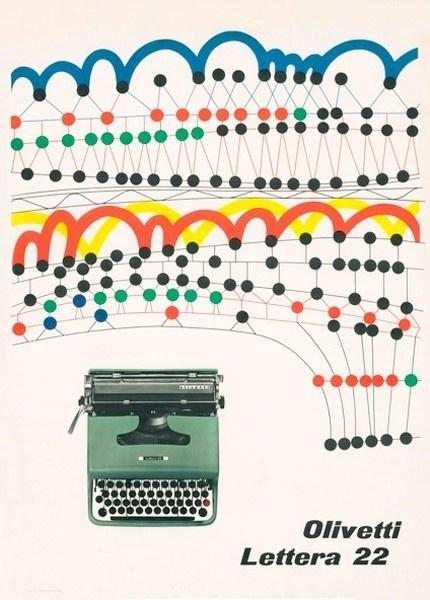 Olivetti Lettera 22 ad // Designed by Giovanni Pintori 1956 #olivetti #design #graphic #advertising #posters