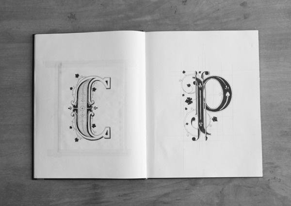 A Typographer's Notebook That Is Filled With Gorgeous Hand Lettering DesignTAXI.com #letters #white #black #alphabet #drawn #and #hand #typography