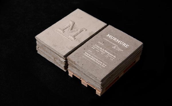 Murmure - concrete business cards #concrete #business #card #logo #typo
