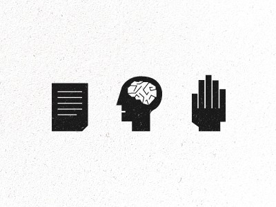 Dribbble - Think About It by Jesse Penico #braind #hand #icons #logo #paper