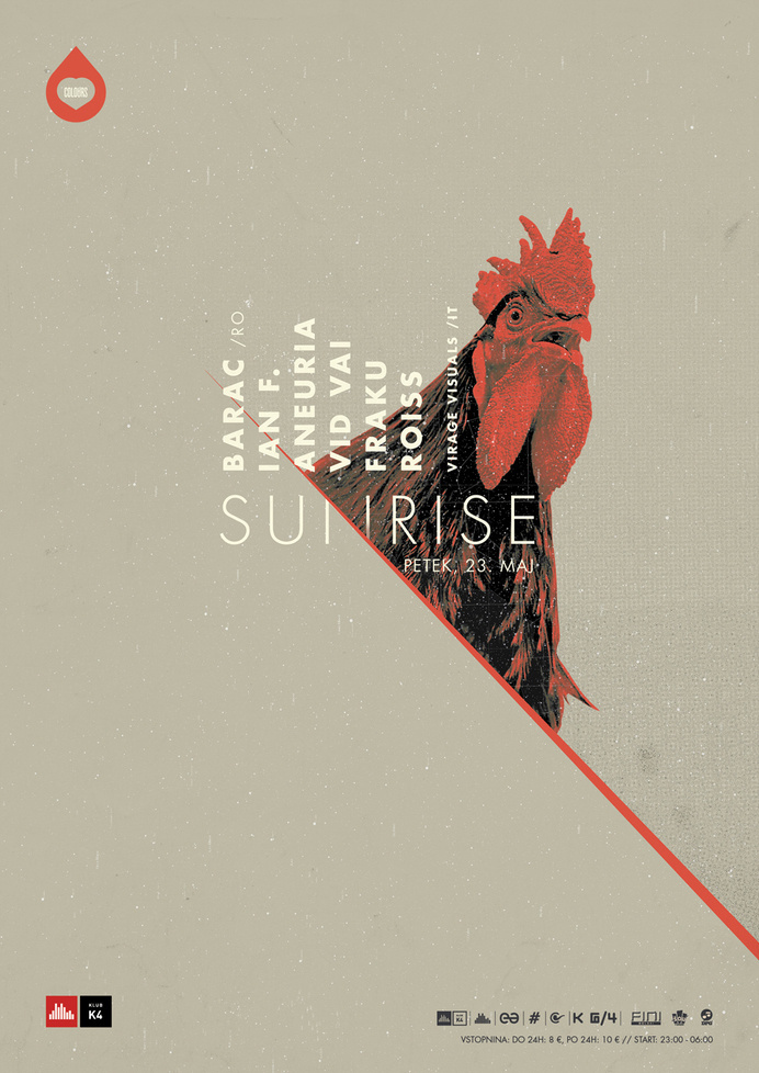 Colours Sunrise poster. #rooster #design #dj #poster #music #electronic