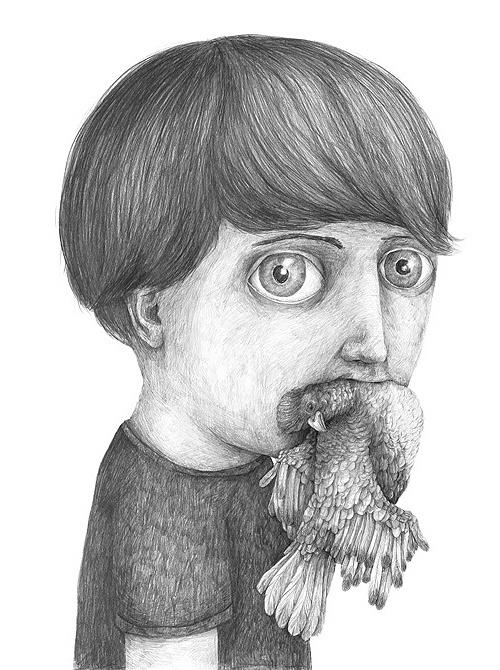 Illustration by Stefan Zsaitsits #bizarre #white #boy #black #bird #illustration #strange #and #mouth