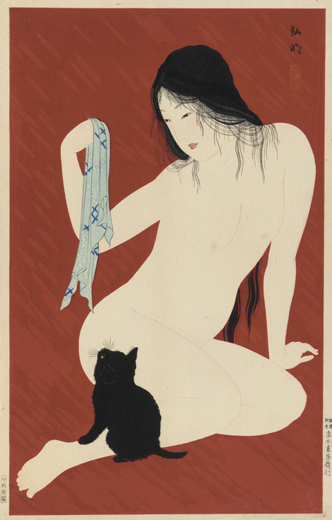 Nude With Black Cat - Takahashi Shotei, 1929-1932 #kitten #girl #nude #cat #black #illustration #traditional #japan