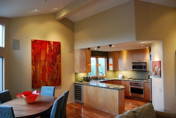Contemporary Kitchen With Red Abstract Painting #decor #kitchen #for #art  #paintings