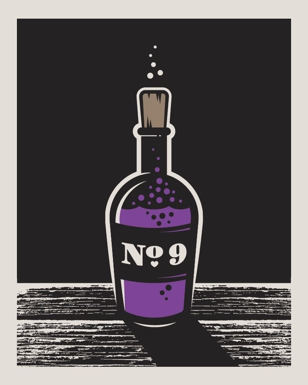 Love Potion www.joebenghauser.com #vector #bottle #label #illustration #purple #love #potion