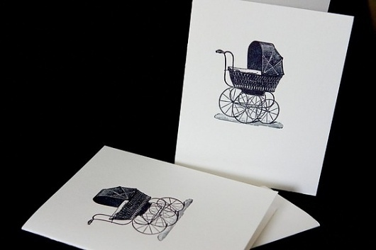 The Baby Carriage letterpress card by CabbageCreative on Etsy #creative #carriage #letterpress #cabbage #baby
