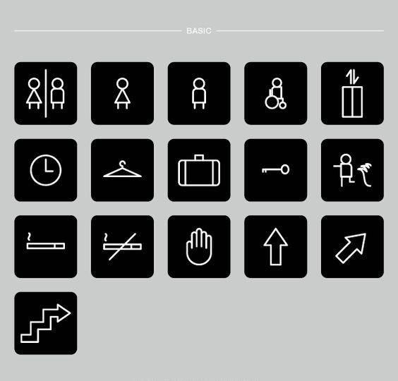 Wayfinding | Signage | Sign | Design 简洁线条黑白经典商场卫生间楼宇标识