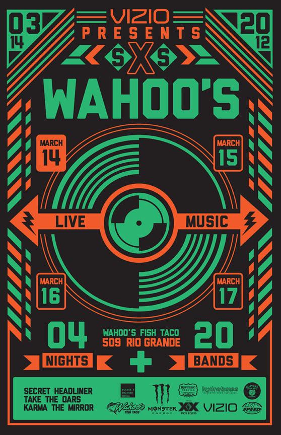 Wahoo's SXSWahoos poster #tx #print #sxsw #screen #austin #poster #music