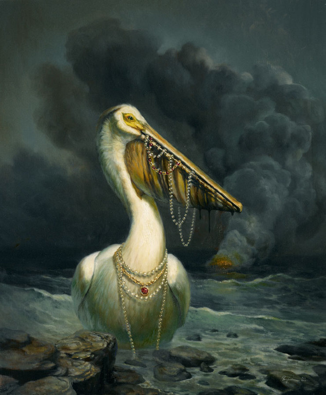 The Spoils - Martin Wittfooth #ocean #water #pelican #necklace #bird #spoil #illustration #sea #storm #rocks #painting #shipwreck #treasure #beach #waves