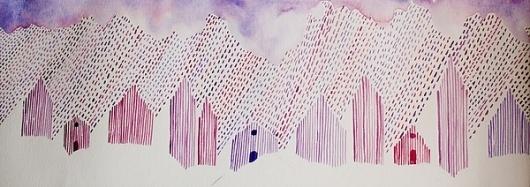 Watercolors on the Behance Network #watercolor #rain #purple
