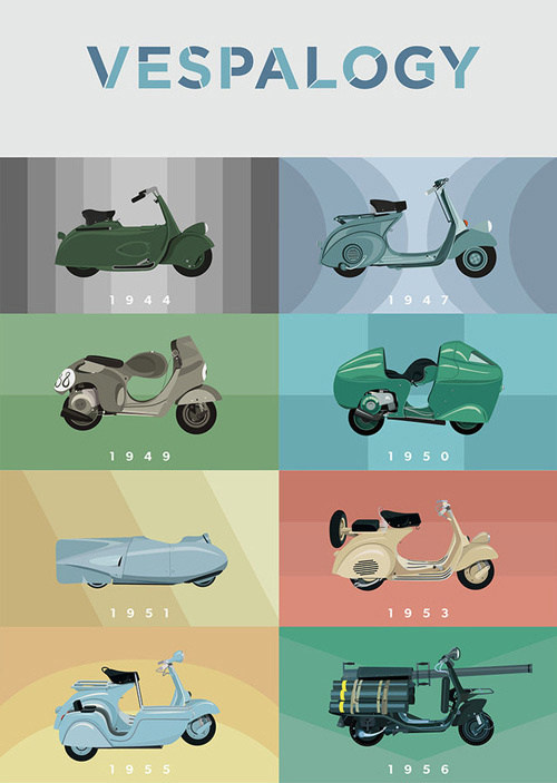 CJWHO ™ (Watch 60 Years of Chic Vespas Go By Now, Paris ...) #design #advertising #vespa #illustration #colors #vespalogy #art