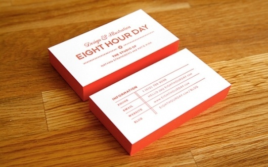 Eight Hour Day » Blog » Our New Look #eighthourday #red #business #print #letterpress #identity #cards