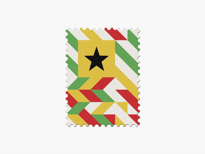 Ghana #stamp #graphic #maan #geometric #illustration #minimal #2014 #worldcup #brazil