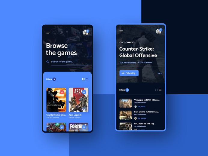 #10 ForStreamers - Mobile App Concept interface player csgo esport platform games stream game android iphone applicaiton app phone minimalism flat design ux ui