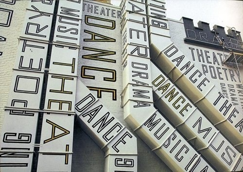 Typeverything.comNew Jersey Performing Arts Center, designed by Paula Scher. #lettering #typeverything #installation #scher #typography #paula #arts #environmental #performing #art #graphics #jersey #new