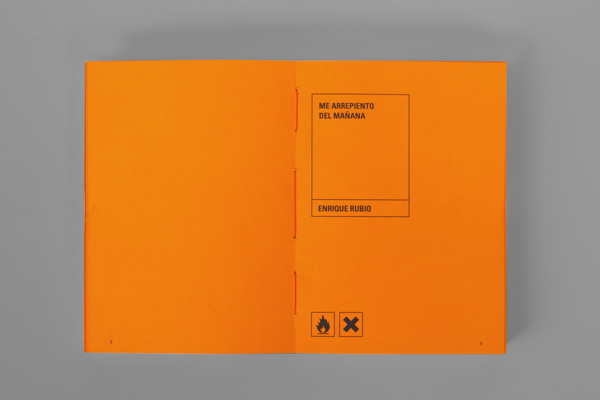 Me arrepiento del mañana on Behance #binding #bottle #packaging #orange #book #corrosive #toxic #editorial