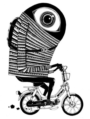 FFFFOUND! | Moped Pro Art Print - Society6 #white #black #eye #bike #and #monster #motorcycle #moped