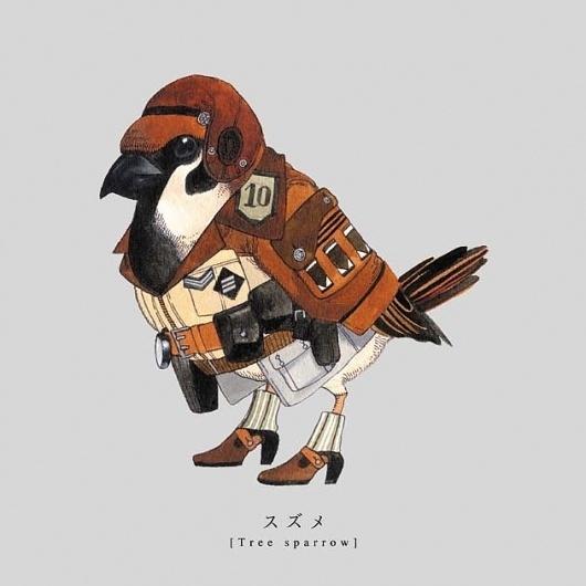 Illustrations of Songbirds Wearing Military Uniforms #japanese #bird #military #illustration #brown #torigun #uniform #sato