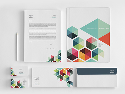 corso #modern #design #geometric #colorful #minimal #stationery #template