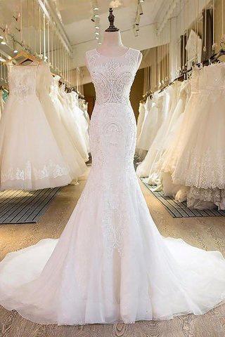 Robe de mariée naturel encolure ronde de traîne courte de sirène manche nulle - photo 1