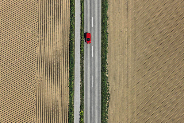 by Aerial Photography #red #car #road