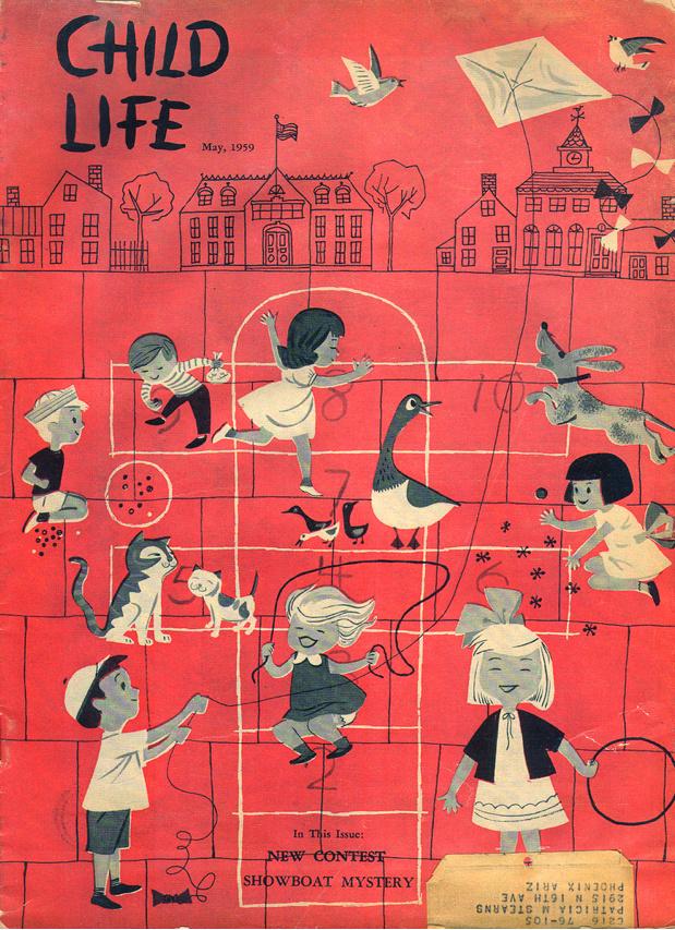 Vintage, children's book, red, kids, playground, cover