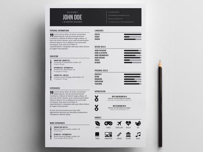 Free Minimal Designer Resume in Illustrator Format
